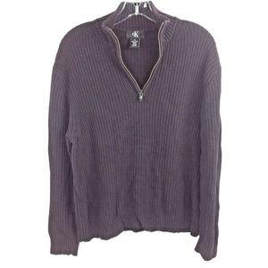 Mens Calvin Klein 1/2 zip Medium Sweater Eggplant
